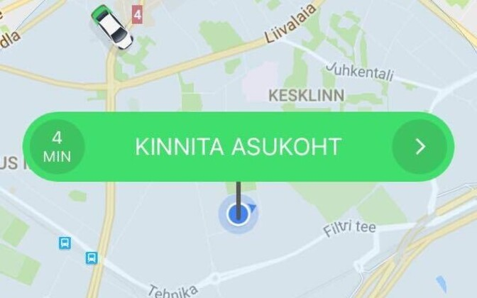 The Taxify app in use by a customer.