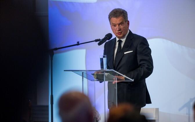 Finnish President Sauli Niinistö delivering the keynote speech at the Lennart Meri Conference in Tallinn on Saturday. May 13, 2017.