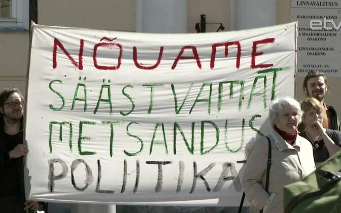 Митинг против целлюлозного завода в Тарту.