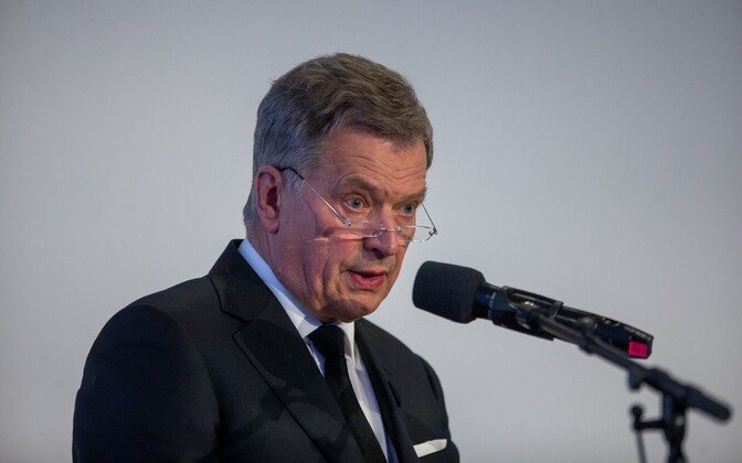 Finnish President Sauli Niinistö speaking at the Lennart Meri Conference on Saturday. May 13, 2017.