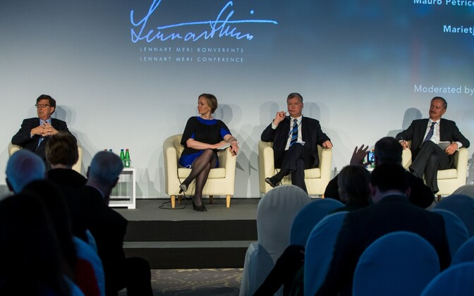 Mauro Petriccione (far left), Marietje Schaake, Stephen Biegun and Siim Kallas speaking at a panel on free trade at the Lennart Meri Conference on Sunday. May 14, 2017.