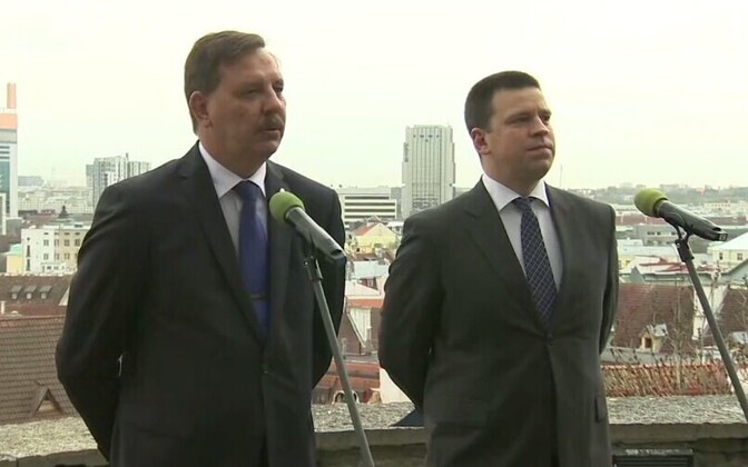 Acting mayor of Tallinn Taavi Aas (Center) and Prime Minister Jüri Ratas (Center).