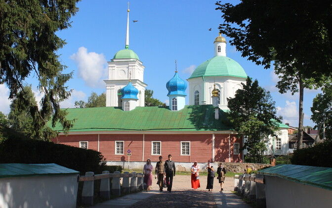 St. Barbara's Church in Pechory, Russia, a formerly Estonian town that during the Soviet occupation changed over to the Pskov oblast.