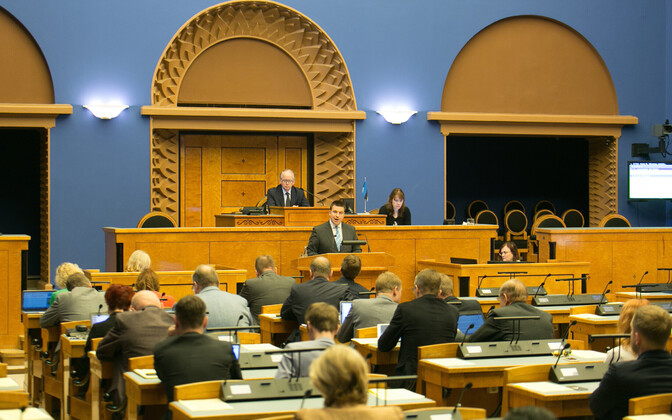 Ratas speaking in the Riigikogu, May 16, 2017.