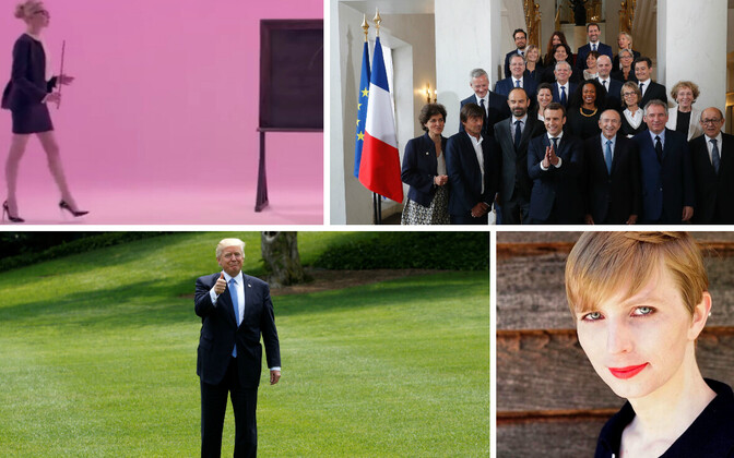 Stoppkaader Alisa Voxi videost, Prantsuse valitsuskabinet, Donald Trump, Chelsea Manning.