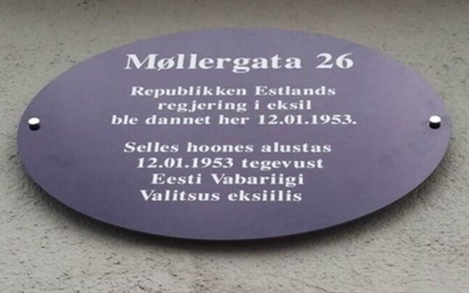 Memorial plaque in Oslo where the Estonian government in exile took up work in 1953.