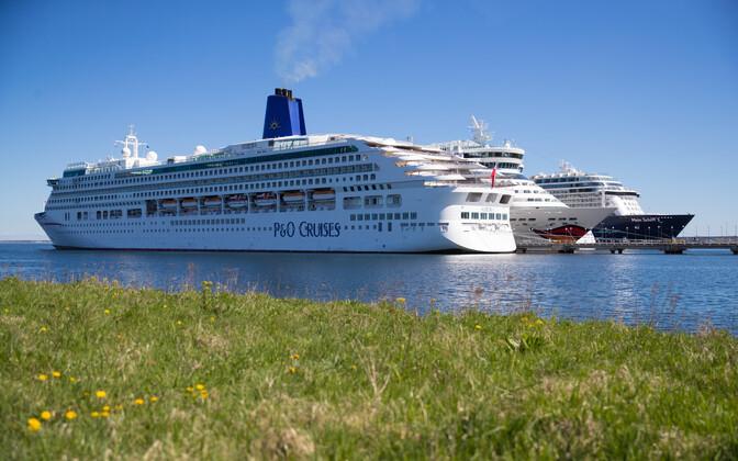 Cruise ships docked at the Port of Tallinn.