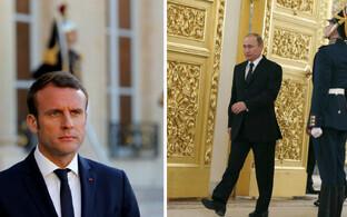 Emmanuel Macron ja Vladimir Putin.