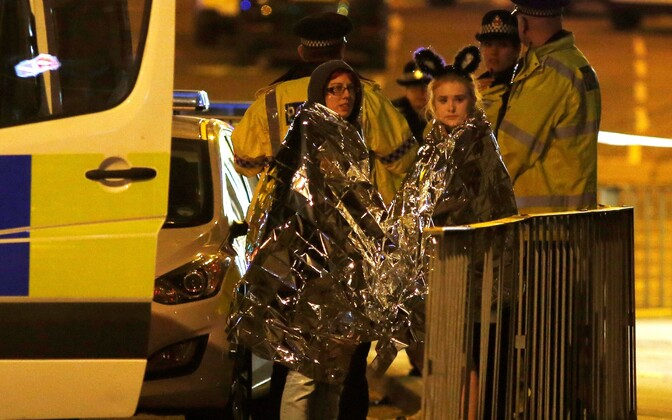 Concertgoers being cared for following an attack on Manchester Arena in the late hours of Monday night. May 22, 2017.