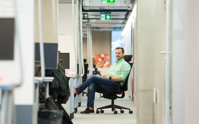 Founder Taavet Hinrikus at the Transferwise office in Tallinn. December 2016.