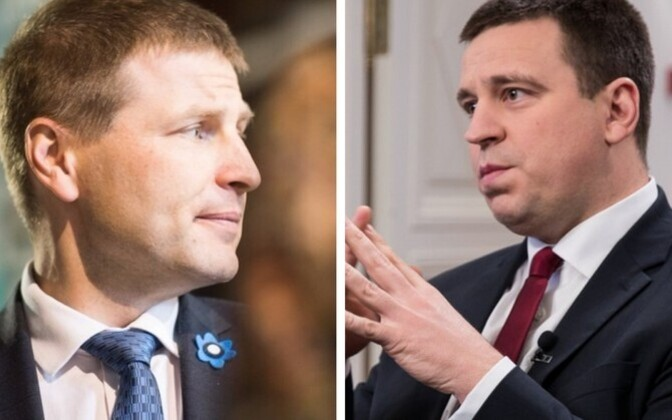 Reform Party chairman Hanno Pevkur (left) and Prime Minister and Center Party chairman Jüri Ratas (right).
