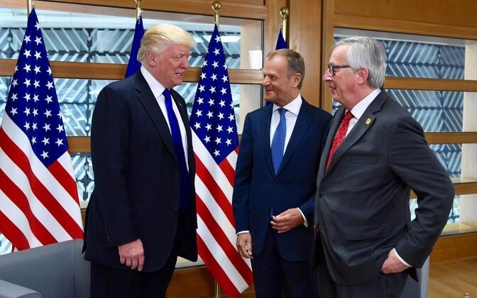 Donald Trump, Donald Tusk ja Jean-Claude Juncker.