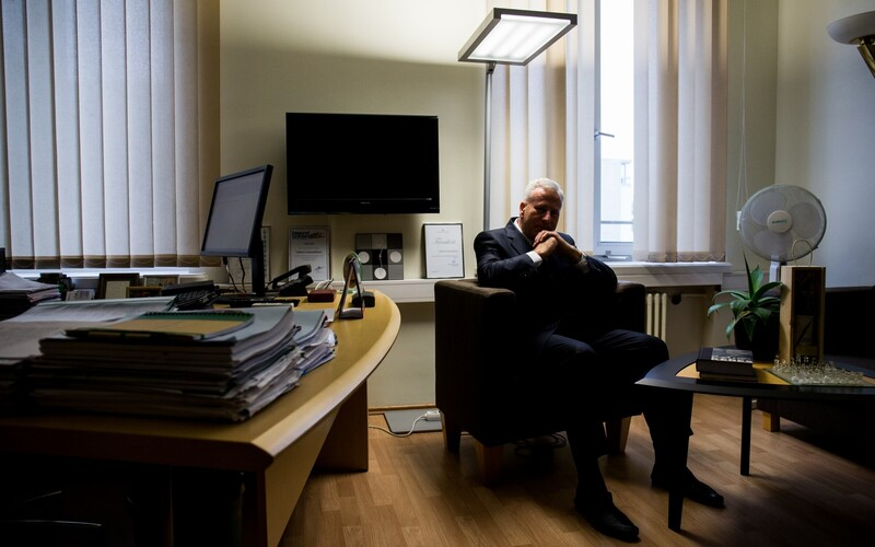 Deputy mayor Arvo Sarapuu (Center) in his office at Tallinn city government.