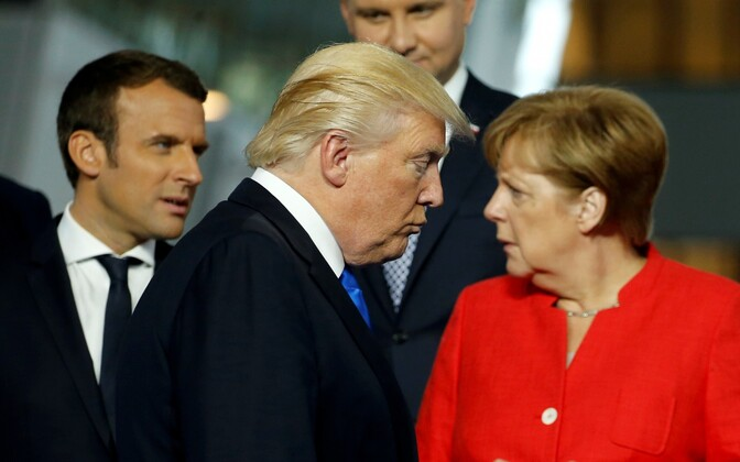 Emmanuel Macron Donald Trump and Angela Merkel