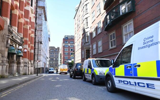 Полицейские машины в Манчестере.
