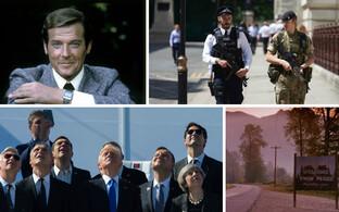 Roger Moore, Briti politseinik ja sõdur koos patrullimas, NATO liidrid Brüsselis, stoppkaader