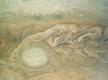 Vaade Jupiteri pilvedele. Ovaaljas struktuur viitab tsüklonile. Värve on tugevdatud.