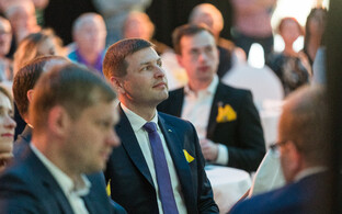 Reform Party chairman Hanno Pevkur at an event launching the party's local election campaign in Tallinn.
