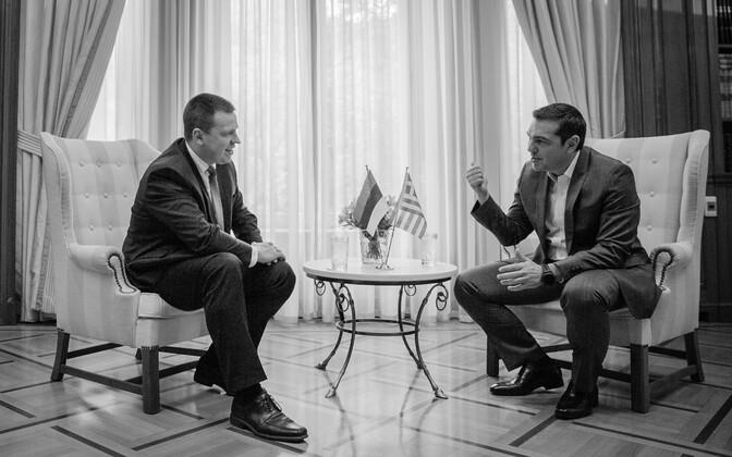 Prime Minister Jüri Ratas with Greek Prime Minister Alexis Tsipras in Athens on Monday. May 29, 2017.