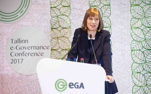 President Kersti Kaljulaid delivering the opening remarks at the Tallinn e-Governance Conference 2017 on Tuesday morning. May 30, 2017.