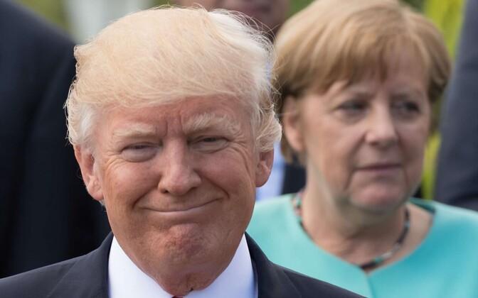 Trump ja Merkel G7 tippkohtumisel Taorminas.