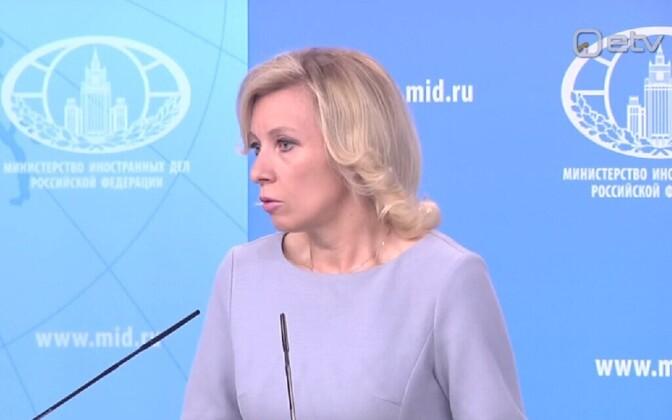 Maria Zahharova pressibriifingul.