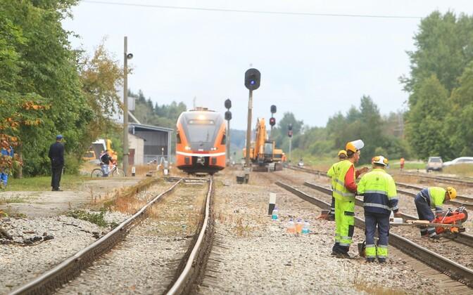 Renovation work on railroad tracks in Jõgeva. Photo is illustrative.