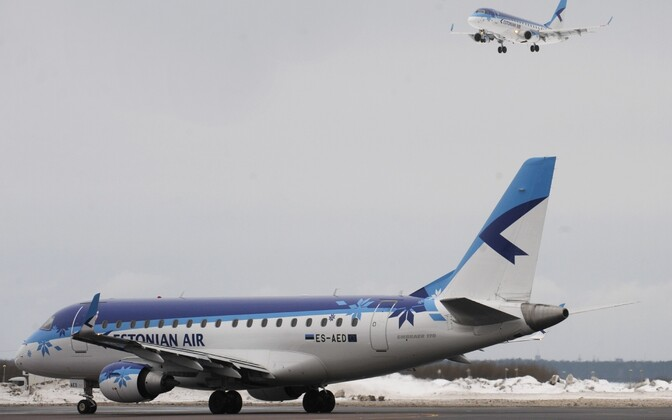 Planes in Estonian Air livery at Tallinn Airport.