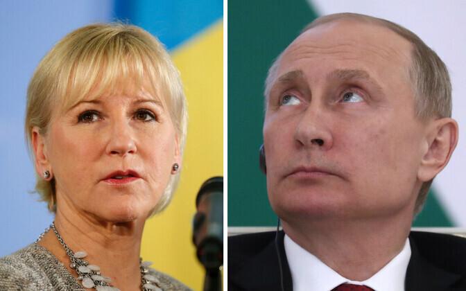 Rootsi välisminister Margot Wallström ja Venemaa president Vladimir Putin.