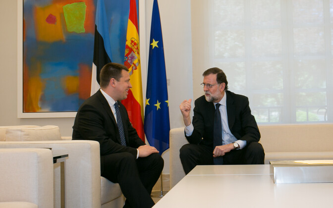 Prime Minister Jüri Ratas with Spanish Prime Minister Mariano Rajoy in Madrid on Monday. June 5, 2017.