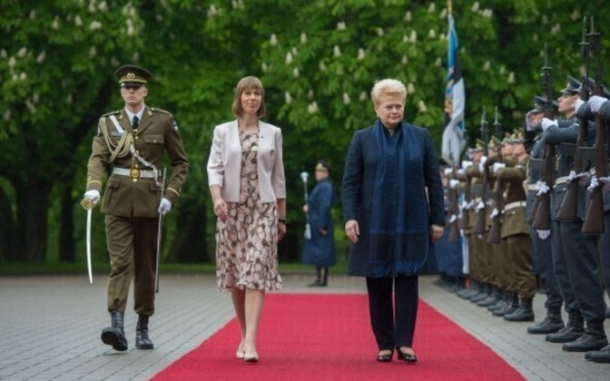 Presidents Kersti Kaljulaid and Dalia Grybauskaitė in Tallinn on Monday. June 5, 2017.