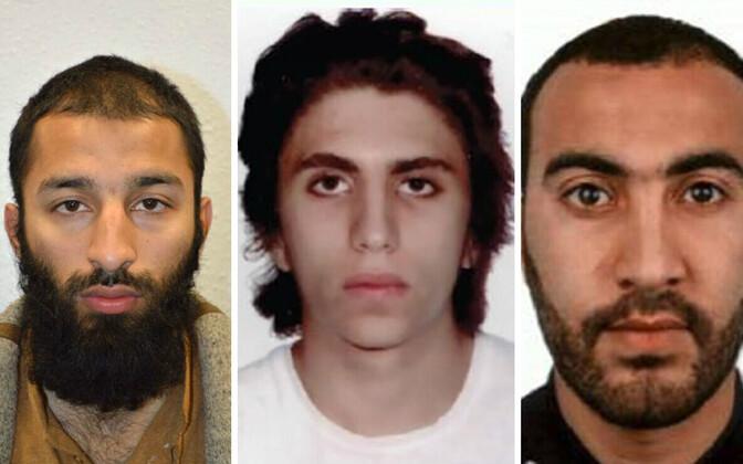Londoni terroristid (vasakult): Khuram Shazad Butt, Youssef Zaghba ja Rachid Redouane.
