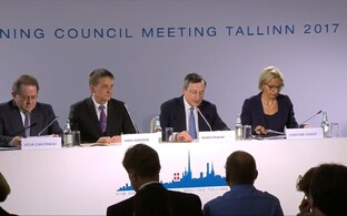 The governing council's press conference in Tallinn, June 8, 2017.