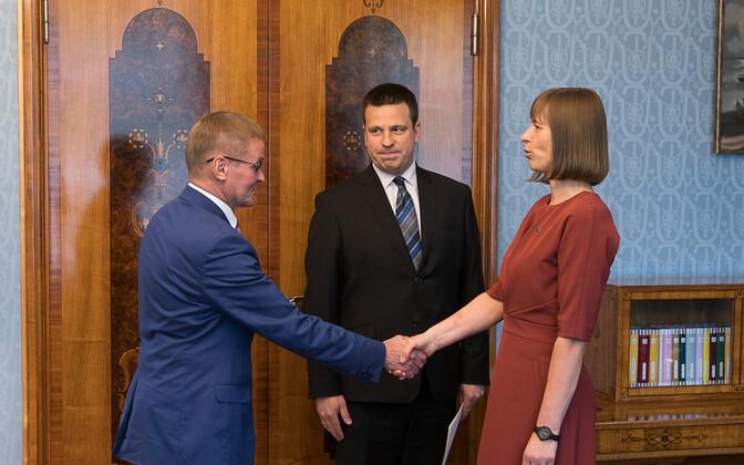 Jaak Aab, Prime Minister Jüri Ratas (Center), President Kersti Kaljulaid.