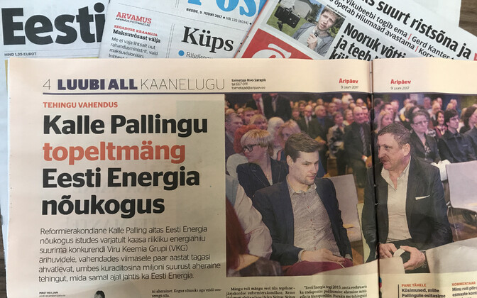 Headline about MP Kalle Palling (Reform) in Friday's issue of Äripäev. June 9, 2017.