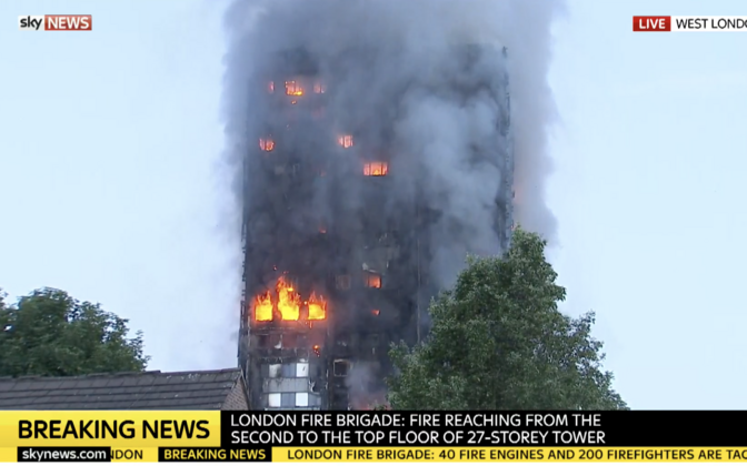 ВЛондоне разгорелся сильный пожар ввысотном здании