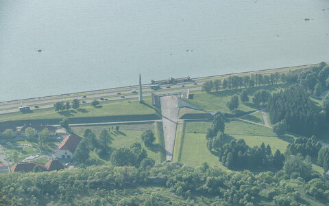 The Maarjamäe memorial from the air. The obelisk is on the left, the site of the new memorial for the victims of communism on the right side.