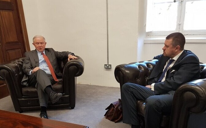 U.S. Attorney General Jeff Sessions with Estonian Minister of Justice Urmas Reinsalu in Malta on Friday. June 16, 2017.