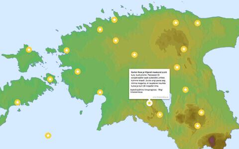 Võidupüha ilm interaktiivsel kaardil.