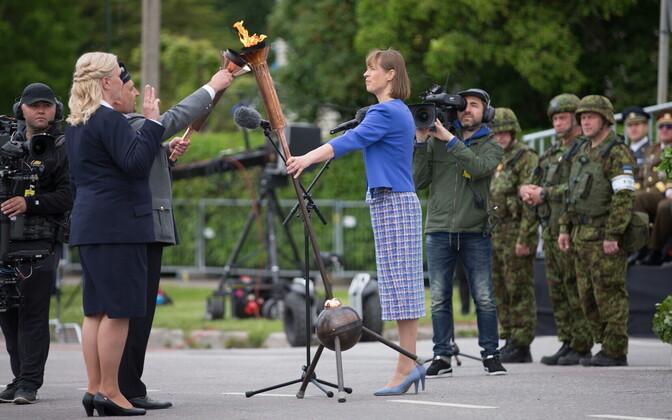 President Kersti Kaljulaid at the Victory Day ceremony in Rakvere. June 23, 2017.