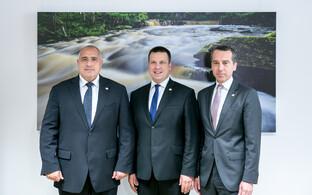 Bulgarian Prime Minister Boyko Borissov, Estonian Prime Minister Jüri Ratas and Austrian Prime Minister Christian Kern.