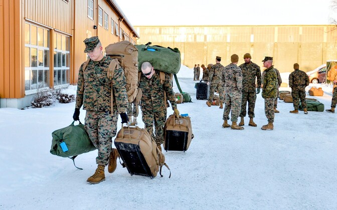 USA merejalaväelased 2017. aasta jaanuaris Norrasse saabumas.