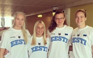 Eesti naiste 3x3 korvpallikoondis koosseisus Kadri-Ann Lass, Laina Mesila-Kaarmann, Pirgit Püü ja Annika Köster.