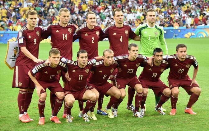 Venemaa koondislased 2014. aasta MM-il enne mängu Alžeeriaga.