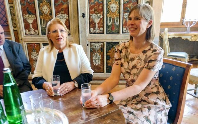 Maltese President Marie-Louise Coleiro Preca (left) with President Kersti Kaljulaid (right) in Rome on Tuesday. June 27, 2017.