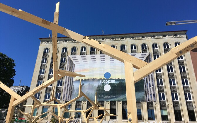 A banner promoting the Estonian EU presidency in Tallinn's Freedom Square.