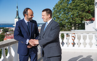 French Prime Minister Édouard Philippe with Prime Minister Jüri Ratas at Stenbock House in Tallinn on Wednesday. June 28, 2017.