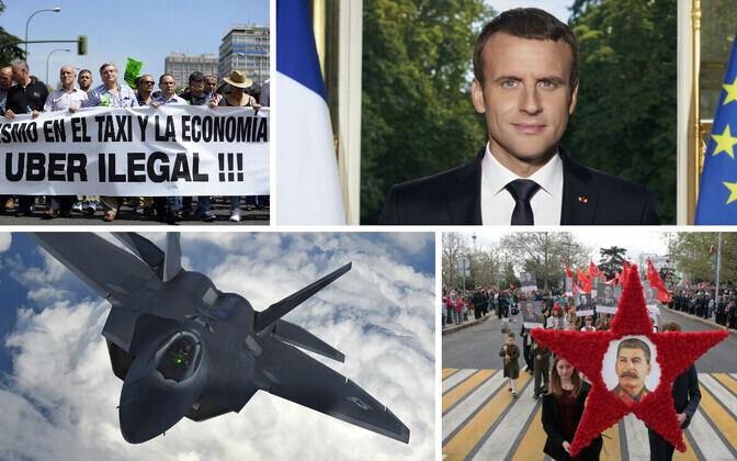 Hispaania taksojuhid Uberi vastu protestimas, president Macroni ametlik portreefoto, F-22 Raptor ja Stalini pildiga rongkäik Sevastopolis.