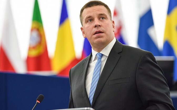 Ratas speaking to the European Parliament, July 5, 2017.