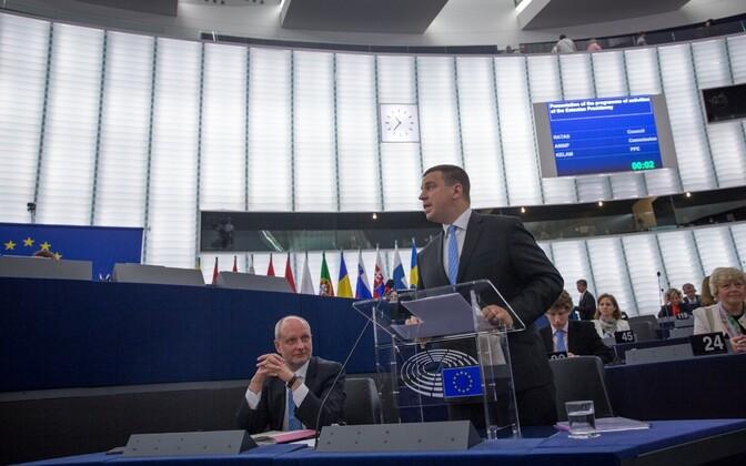 Jüri Ratas addressing the European Parliament, July 5, 2017.